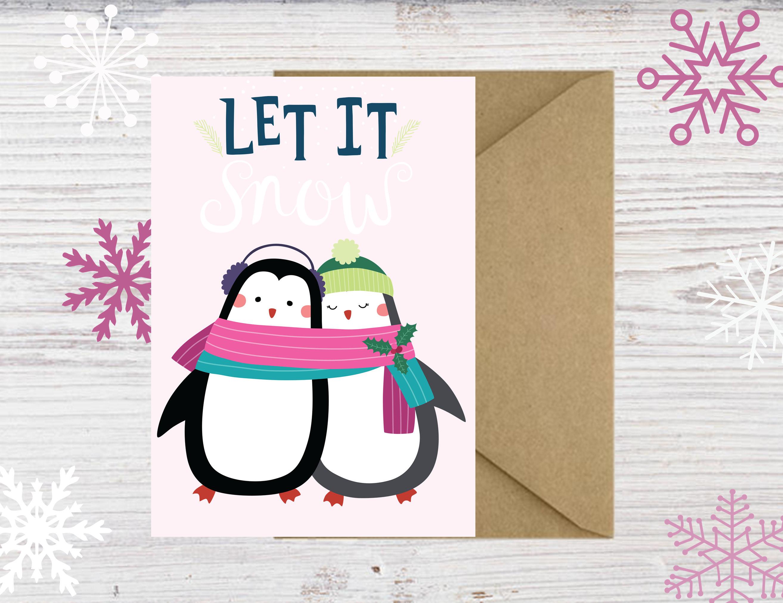 Printable Penguin Christmas Cards - DIY Christmas Cards - Print at ...