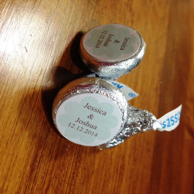 12 order Hershey Kiss Wedding Favor Stickers with a colored flower