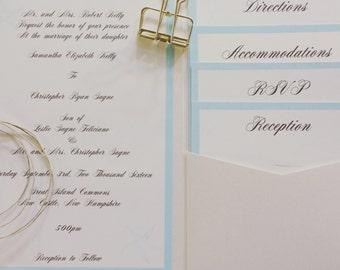 Aqua Blue and Ivory Invitation Suite Sample
