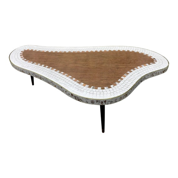 Pleasant Mid Century Coffee Table Tile Mosaic Biomorphic Kidney Shape Ocoug Best Dining Table And Chair Ideas Images Ocougorg
