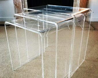 Mid Century Lucite Nesting Tables - Set of 3