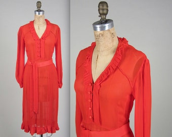 1930s sheer silk chiffon day dress • vintage 30s dress • red long sleeved secretary dress