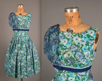 1950s blue floral dress • vintage 50s garden party dress •  full skirt mad men wedding guest dress •