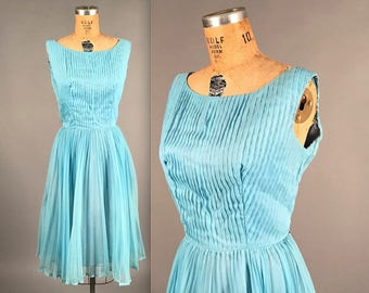 1950s chiffon party dress • vintage 50s dress • baby blue wiggle with full skirt overlay dress