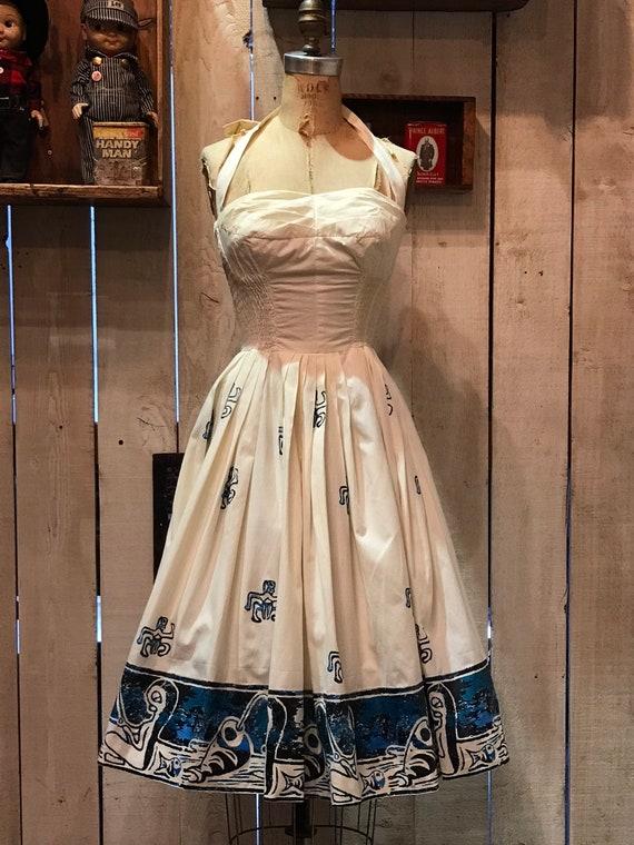 1950s ALFRED SHAHEEN novelty print sun dress • vin