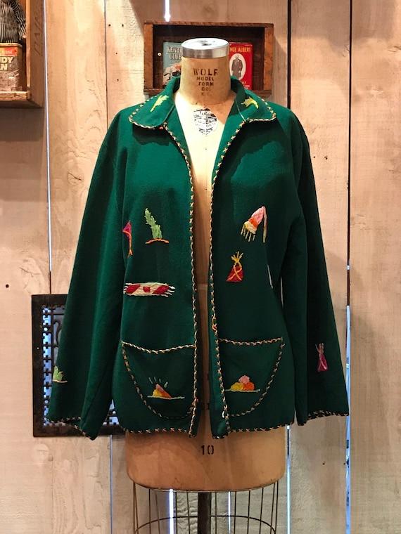1950s forest green Mexican souvenir jacket • vinta