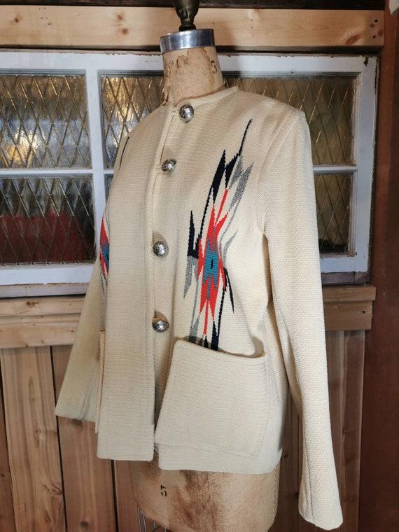 1950s Chimayo Women's Southwest Blanket Jacket - … - image 5