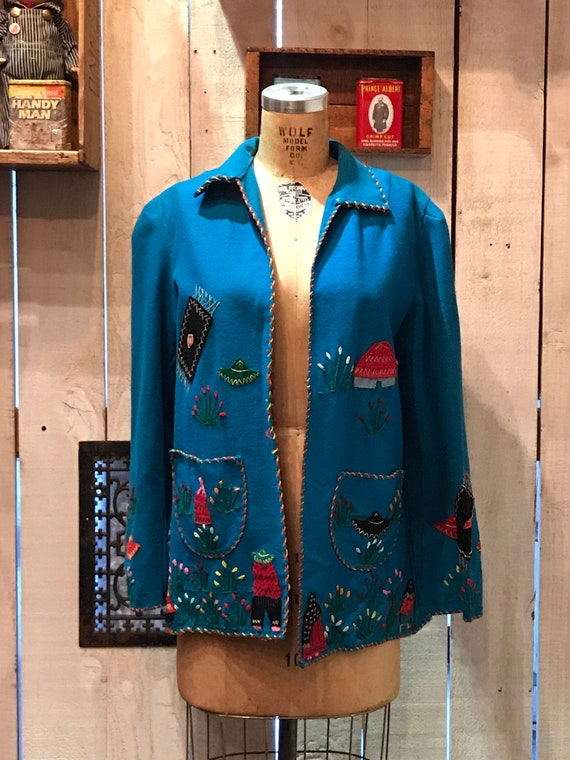 1950s teal blue Mexican souvenir jacket • vintage
