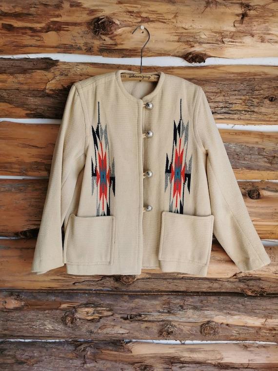 1950s Chimayo Women's Southwest Blanket Jacket - … - image 1