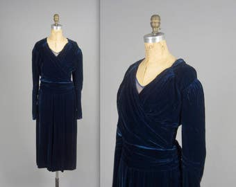 1930s midnight blue silk velvet dress • vintage 30s dress • glam evening dress