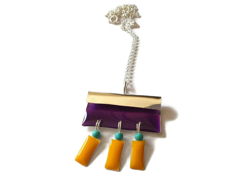Enamel Necklace Long Silver Necklace Purple /& Yellow Fringe Pendant Necklace Christmas Gifts Colorful Resin Necklace Hippie Necklace