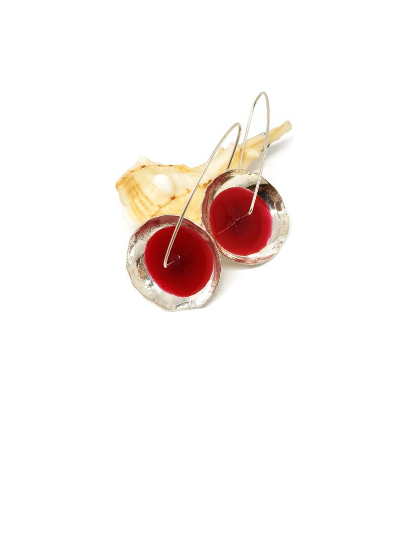 Acrylic Earrings Christmas Gifts Handmade Enamel Earrings Red Enamel Jewelry Red Enamel Earrings Red Resin Earrings