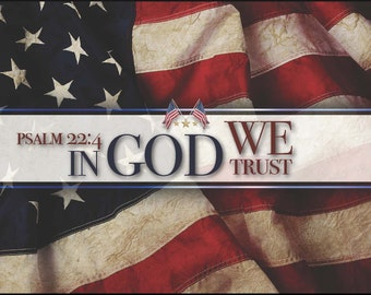 "Patriotic Resin Cast ""In God We Trust"" over American Flag Pen Blank"