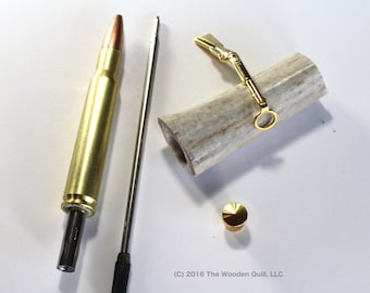 Made in USA Craft Supplies Pen Kit - Rifle Cartridge Pen - 30.06 Brass - Deer Antler Blank
