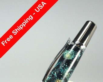 Handmade Gift for Her - Chrysanthemum Flowers in Green Acrylic Resin Custom Cast Rollerball Pen - Free Shipping USA