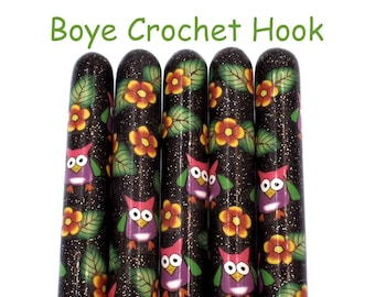 Crochet Hook, Polymer Clay Covered Boye Crochet Hook, Crochet Hook sizes B-N,  Owl Design, Night Owl