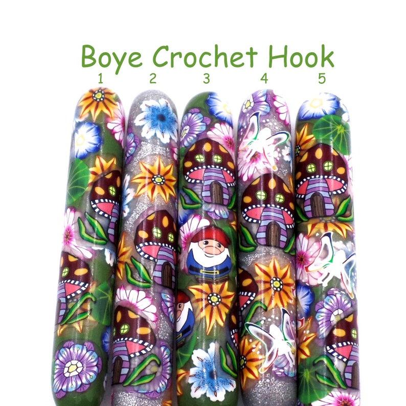 Crochet Hook Fairy Garden Polymer Clay Covered Boye Crochet Hook, Enchanted Forest