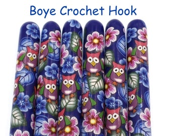 Crochet Hook, Polymer Clay Covered Boye Crochet Hook, Crochet Hook sizes B-N,  Owl and Flowers