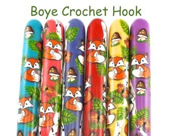 Crochet Hook, Boye Polymer Clay Covered Crochet Hooks, Crochet Hook Sizes B-N, Fox Woods Design, Ergonomic Crochet Hook