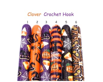 Crochet Hook, Polymer Clay Covered Clover Amour Crochet Hook, Ergonomic Crochet Hook,Halloween, Pumpkins, Witches