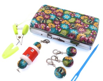 Crochet Tool Tin, Stitch Marker, Notions, Row Counter, Mini Scissors, Flowers and Butterflies