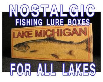 Personalized vintage look lake house fishing cabin decor nostalgic fishing lure boxes