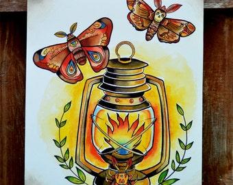 Traditional Tattoo Moth Lantern Print