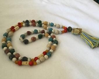 Mala Prayer Bead Necklace 108 Beads Buddhist Mala ~ Clay Ganesh