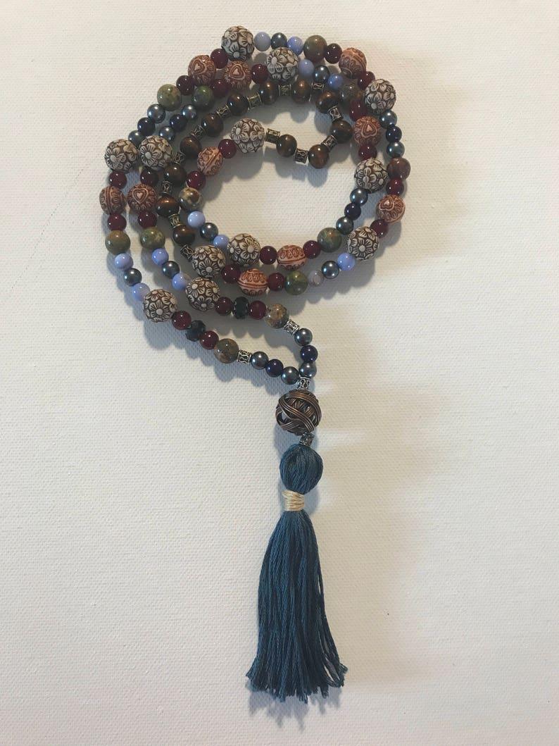 Mala Prayer Bead Necklace 108 Beads Prayer Mala ~ Mother Earth