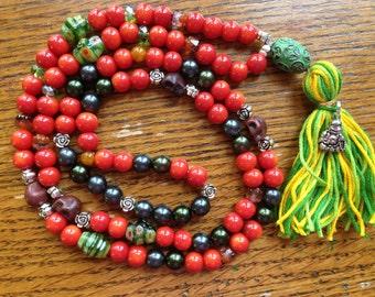 Mala Prayer Bead Necklace 108 Beads Buddhist Mala ~ Fire Buddha