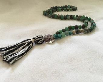 Mala Prayer Bead Necklace 88 Beads Buddhist Mala ~ Green Earth