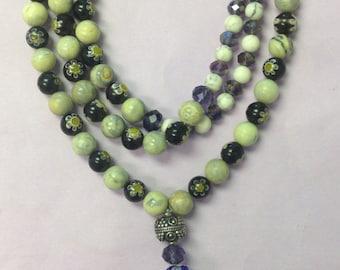 Mala Prayer Bead Necklace 108 Beads Buddhist Mala ~ Daisy Chain
