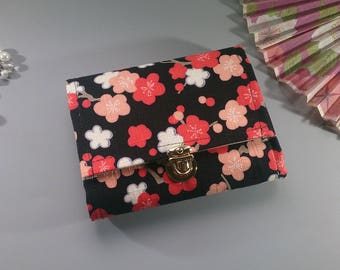 """5.5"""" Black orange pink cards and coins wallet - Mailine"""