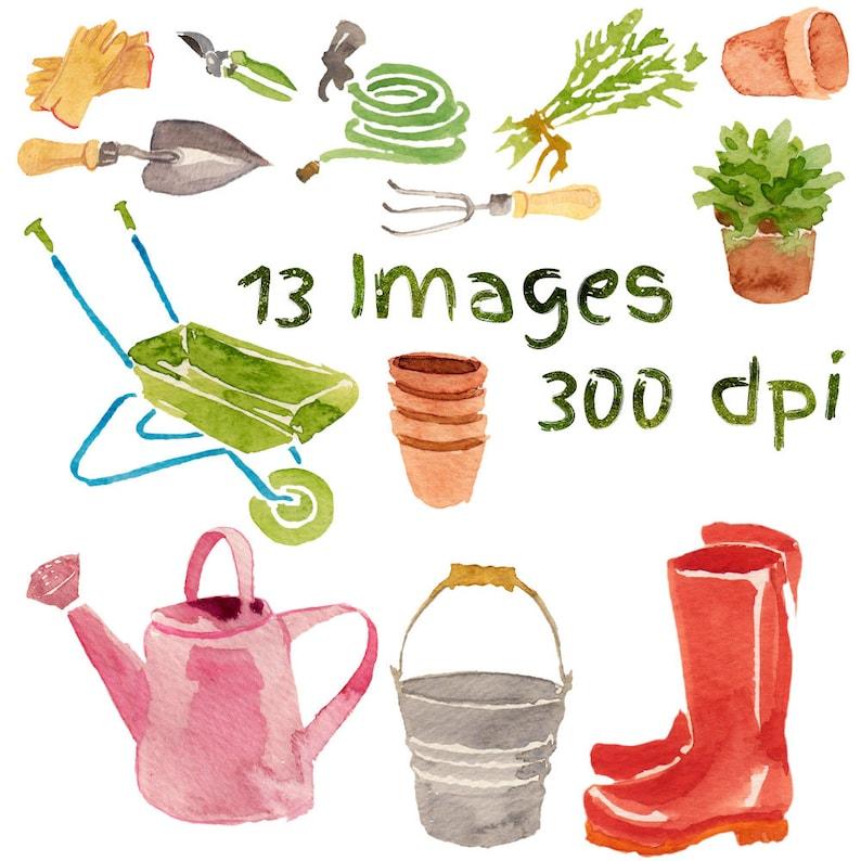 Watercolor Garden Tools Gardening Clip Art Tools Clipart