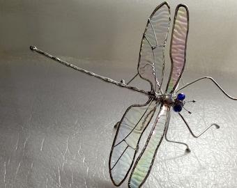 New design rainbow glass dragonfly sculpture memorium gift