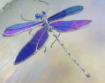 Iridescent Cobalt Blue Stained Glass Dragonfly, unique NEW design, repositionable silver wire legs crystal eyes, only one left