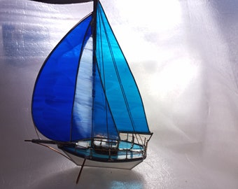 Dad gift stained glass sailboat extremely rare periwinkle aqua blue royal blue NEW COLOUR