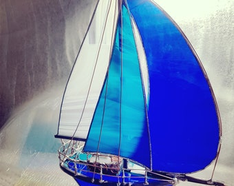 Sailboat 3D Model Stained Glass, Royal Blue, White, Stained Glass boat sculpture with Spinnaker Custom Design