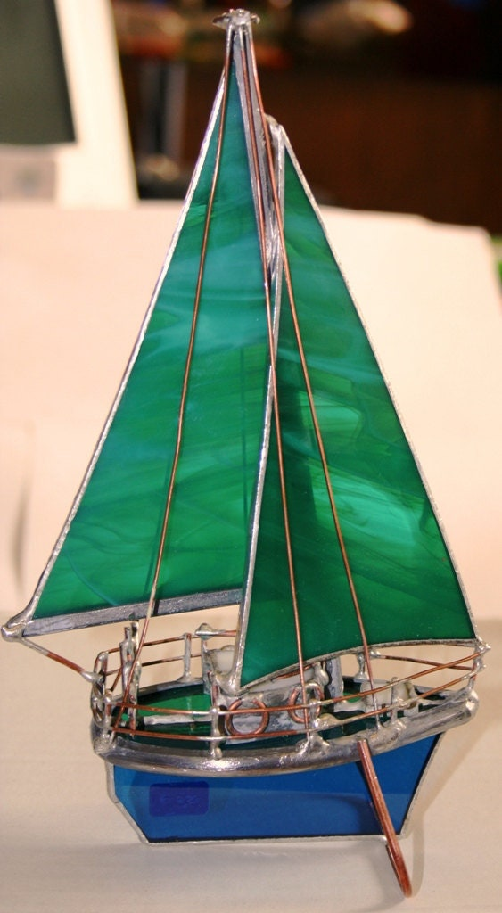 Sail Boat Sea Green Stained Glass Model
