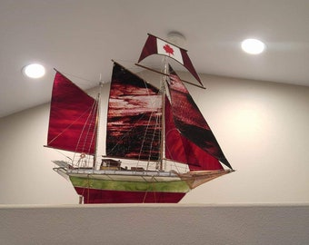 Model Sailing Ship Schooner stained glass, double masted,  Custom made OOAK replica of existing sailboat