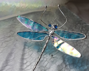 Rare Aqua Blue Iridescent Stained Glass Dragonfly Sculpture Small Limited Edition with Crystal Svoravski Eyes
