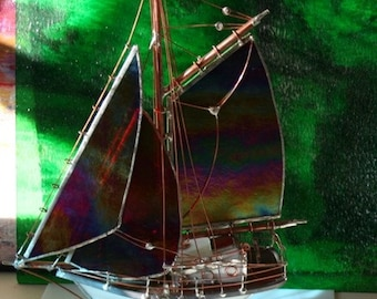 Stained Glass Model Boat Extremely Rare Iridescent Ruby Red only one of its kind left