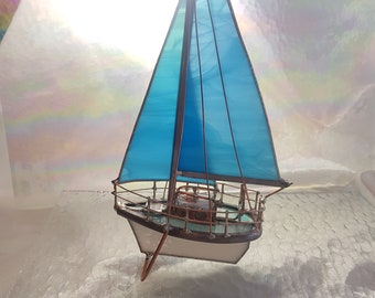 Sailboat Rare Aqua Turquoise Blue Stained Glass 3D Model Small