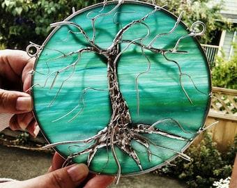 Stained Glass Tree of Life Suncatcher on Aqua Green celebration of life streaky glass