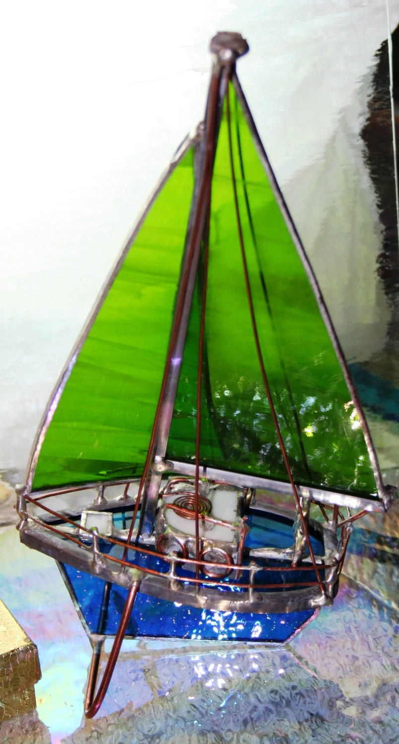 Light Green Stained Glass Model Sail Boat Small OOAK