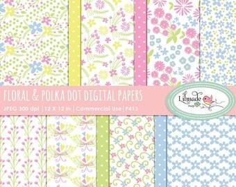 50%OFF Floral digital paper, floral and polka dot scrapbook papers, floral patterns, digital scrapbook paper. P413