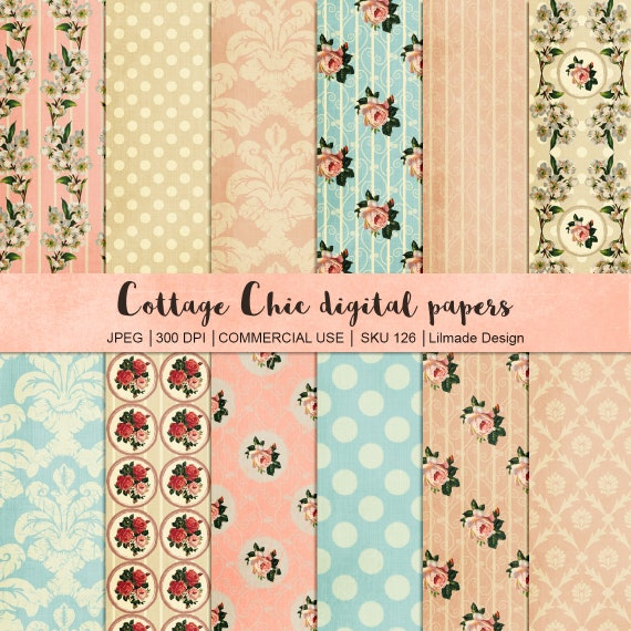 Shabby Vintage Digital Papers Featuring Damask And Shabby Rose Patterns Vintage Scrapbook Paper Cottage Chic Paper Ephemera P126 By Lilmade Designs Catch My Party