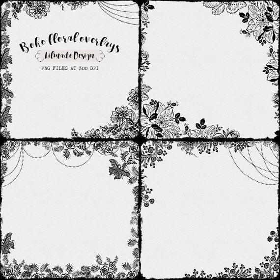 Boho floral overlay, digital photo frame, Photoshop template