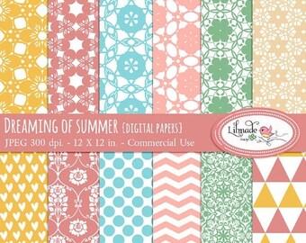 50%OFF Digital paper, dreaming of summer digital scrapbook paper, lace and floral scrapbook paper, commercial use, instant download, P245