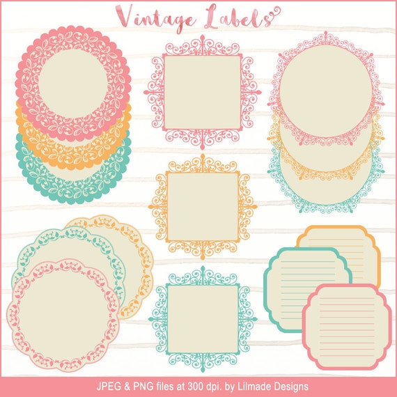 Vintage-Spitze-Etiketten Deckchen ClipArt Etiketten Rahmen | Etsy